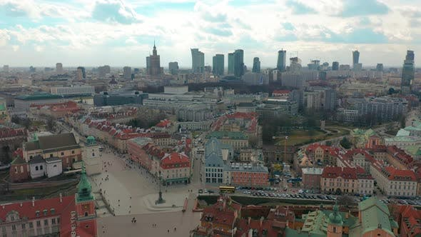 Thumbnail for Warsaw Downtown Skyline City Time Lapse with Clouds Dynamic Poland