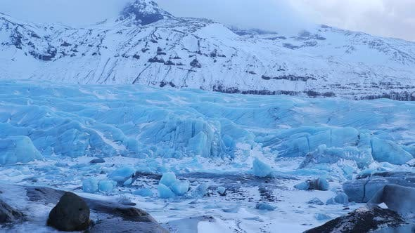 Thumbnail for Iceland View Of Giant Blue Glacier Ice Chunks In Winter 4