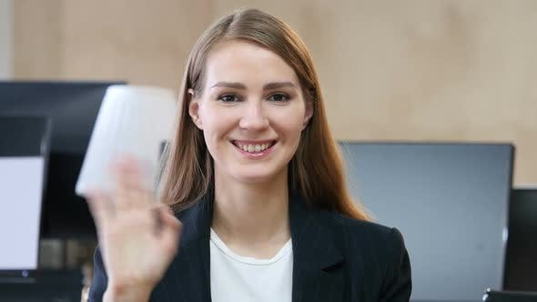 Thumbnail for Hello, Woman in Office Waving Hand