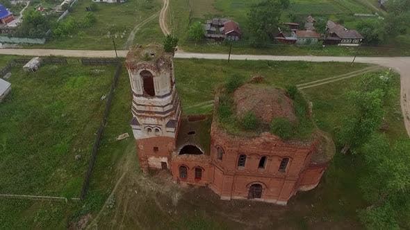 Aerial view of Old ruined abandoned church in a village 03