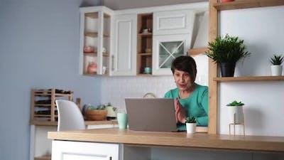 Senior Woman Communicates By Video Call Using Laptop