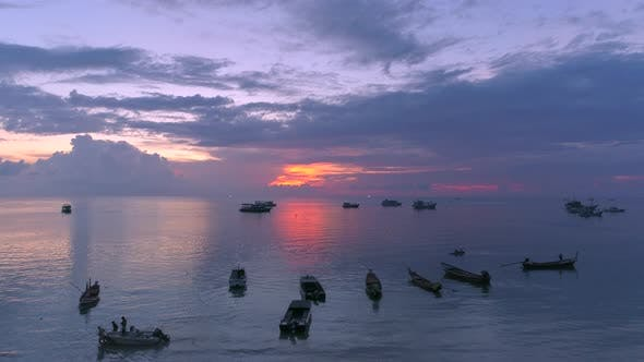 Cover Image for Colourful Sunset With Boats