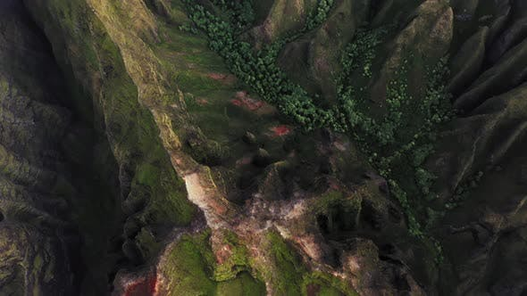 Thumbnail for Pictorial Coastal Terrain of Hawaii. Exotic Volcanic Relief. Topdown Aerial Footage