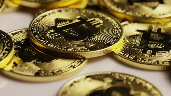 Rotating shot of Bitcoins
