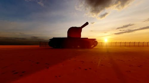 Soldiers Guarding the Watchtower in Military Watchtower and Tank at Sunset