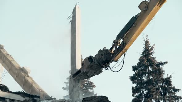 Thumbnail for High Reach Demolition Machine Ruining Abandoned Building, Clearing Accident Site