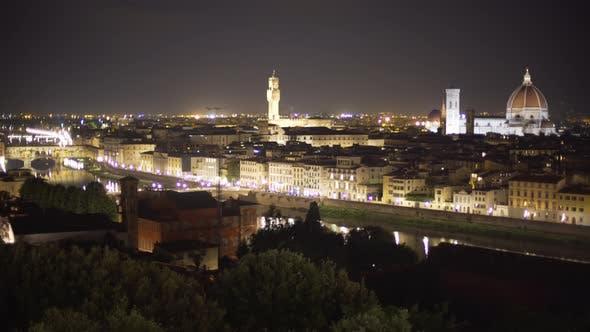 Thumbnail for Beautiful cityscape of city night lights on the Arno River in Florence Italy