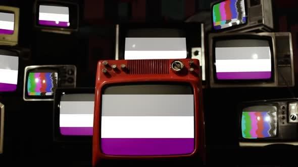 Thumbnail for Asexual Pride Flag on Retro TVs.
