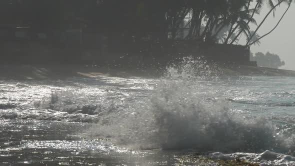 Thumbnail for Ozeanküste mit winkenden blauen Ozean gegen Palmen Silhouette