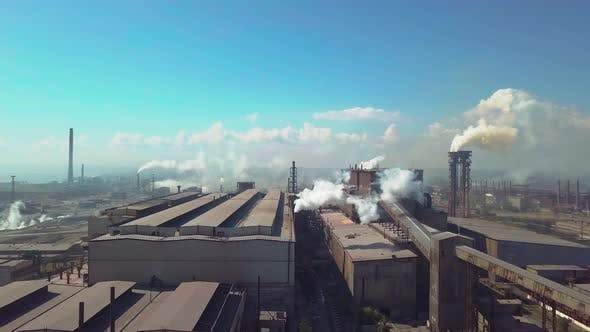 Thumbnail for Aerial View. Industry Plant. Smoke Pipes