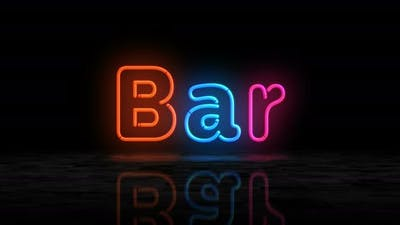 Bar symbol glowing neon 3d lights