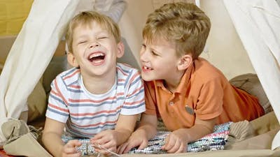 Little Friends Joking and Laughing