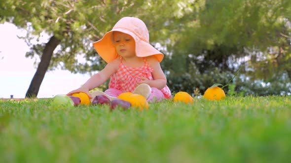 Thumbnail for Toddler Sitting on Green Grass Waiting for Mother