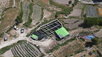 Pool Fish Farm Drone View