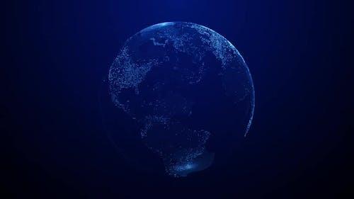 Digital blue world hologram