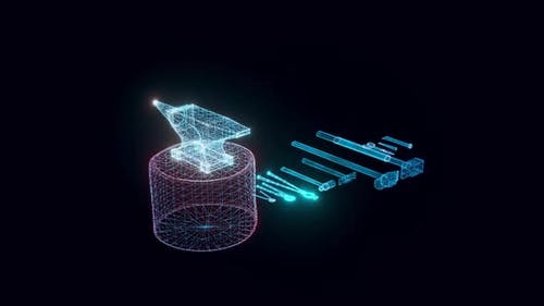 Blacksmith Tools Hologram Rotating 4k