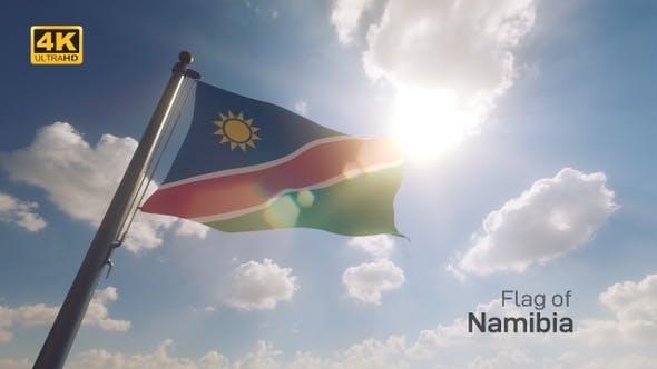 Namibia Flag on a Flagpole V2 - 4K