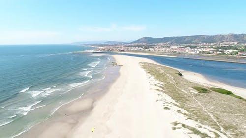 Exotic Sandbank Beach with Blue Clean Sea. Aerial view
