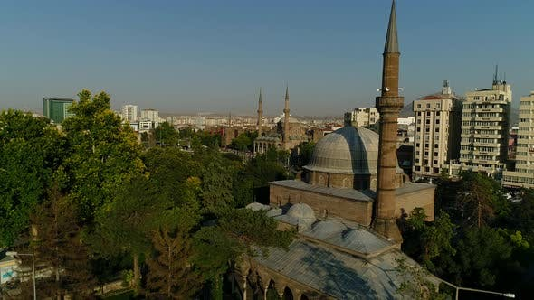 Thumbnail for Aerial View On City Historic Mosques Among Trees