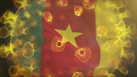 Cameroon Flag With Coronavirus Microbe Centered