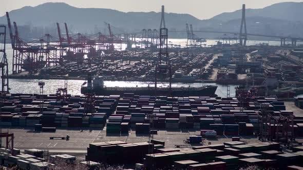 River Infrastructure Busan Port Korea Timelapse