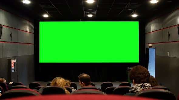 Audience Looking At Green Screen In Cinema Hall Spectators Watching Movie In Small Cinema Theatre By Klymentii On Envato Elements