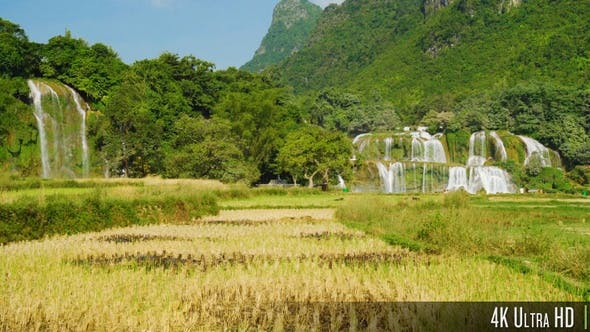 Thumbnail for 4K Ban Gioc Waterfall in Rural Landscape with Mountains