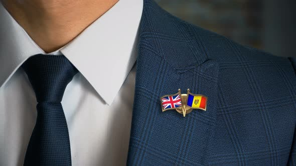 Businessman Friend Flags Pin United Kingdom Moldova