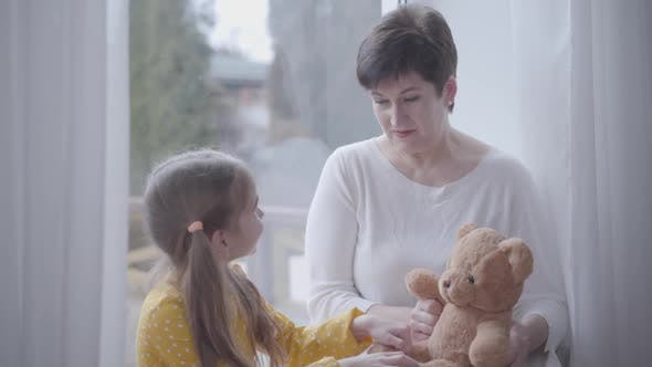 Thumbnail for Portrait of Smiling Adult Caucasian Woman Playing Teddy Bear and Talking with Cute Little Girl