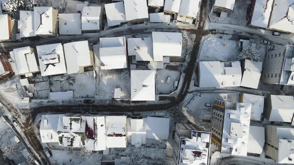Townhouse Settlement Winter Snow Covered Rooftops