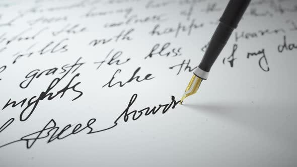 Thumbnail for Ink Pen Writes Verse on Paper Close Up