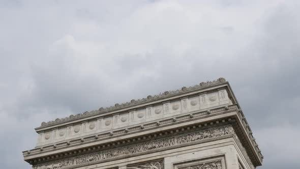 Thumbnail for Highly detailed surface of Arch of Triumph in Paris France in front of cloudy sky 4K 3840X2160 30fps