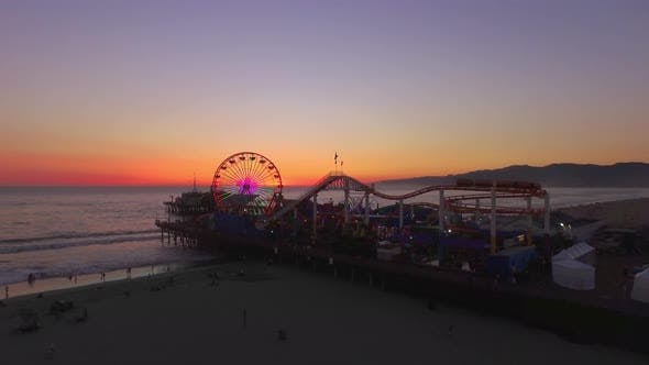 Thumbnail for Santa Monica Beach Pier and Attractions, Sunset at the Background
