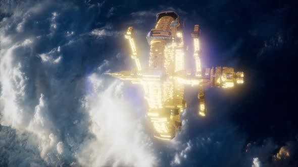 Thumbnail for Earth and Spacecraft. Space Ship Over the Earth