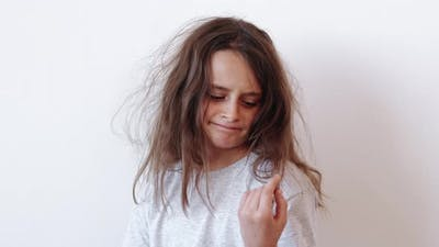 Child Haircare Dissatisfied Girl Dry Messy Hair