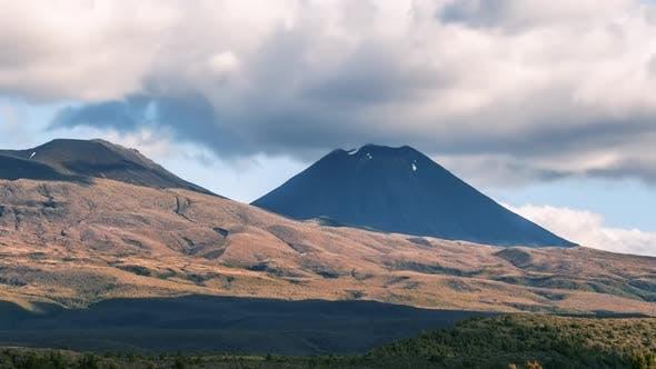 Dramatic Clouds over Mount Doom Mountain Ngauruhoe in Tongariro Park in New Zealand Volcanic Nature