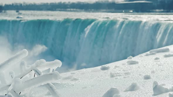 Thumbnail for Winter at Niagara Falls, Snow and Ice Glistens in the Sun