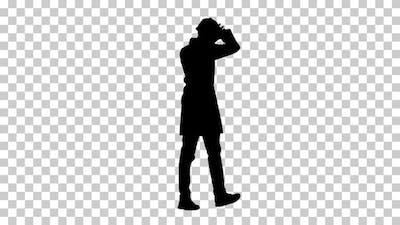 Silhouette engineer walking, Alpha Channel