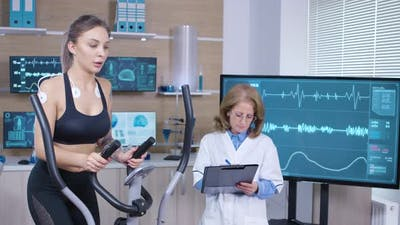 Female Runner in a Examination Facility for Athletes
