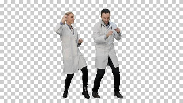 Thumbnail for Young doctors in a good mood dancing and, Alpha Channel