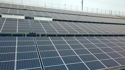 Solar energy farm. Power station. Blue solar panels. Source of ecological renewable energy.