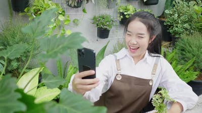 Happy Asian young woman selling plants online, holding plant product and using smartphone