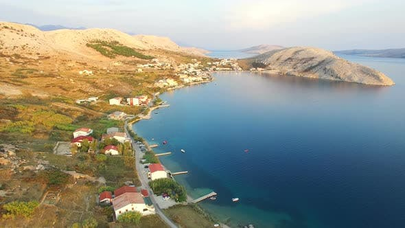 Flying above above vacation properties on the island of Pag