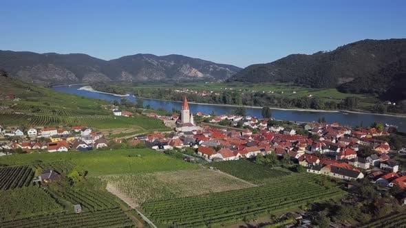 Thumbnail for Aerial of Weisenkirchen, Wachau Valley, Austria.