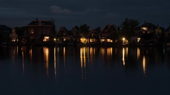 Thumbnail for Timelapse of Night Coming To Waterside Village in Netherlands
