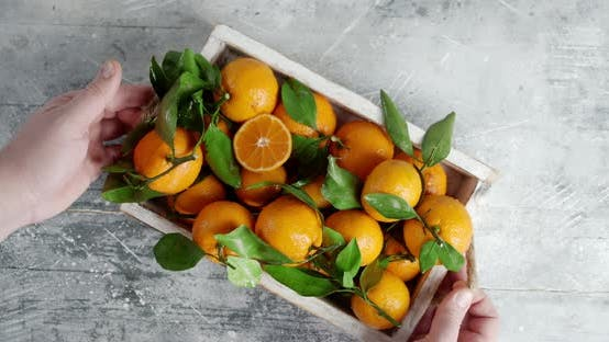 Men Hands Put on Table Tray with Tangerines and Take It.