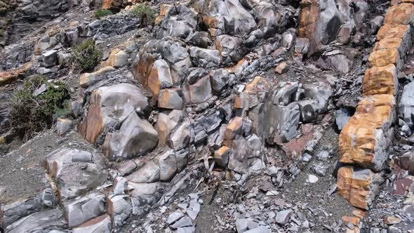 Layered rock formation, geological rock