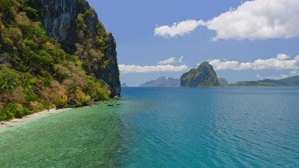 Thumbnail for El Nido, Palawan, Philippines. Aerial View of Unspoiled Islands Surrounded By Blue Ocean Water of