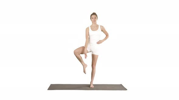 Thumbnail for Beautiful Sporty Young Woman in White Sportswear Working Out Idoing Utthita Hasta Padangustasana