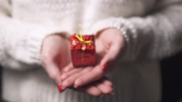 Thumbnail for Nahaufnahme der Hände einer Frau, die eine Schachtel mit einem Geschenk hält.